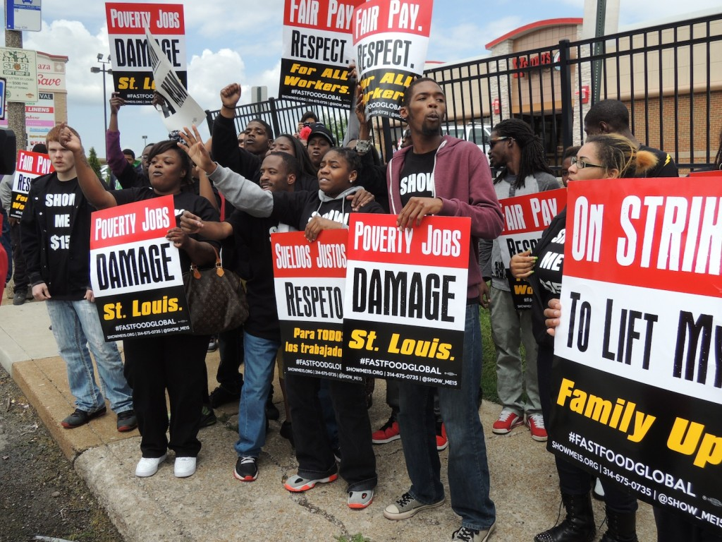 SHOW ME $15, the coalition of St. Louis area fast food workers fighting for a living wage and the right to form a union, joined a nationwide and global walkout last week to call for higher wages from the profitable companies that employ them. – Labor Tribune photo