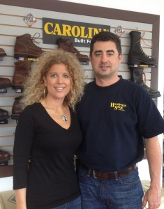 AMERICAN AND UNION MADE: Tricia and Rob Egan at their shoe store, Hampton Shoe,  which specializes in American-made, union-made work boots and other footwear.  – Labor Tribune photo