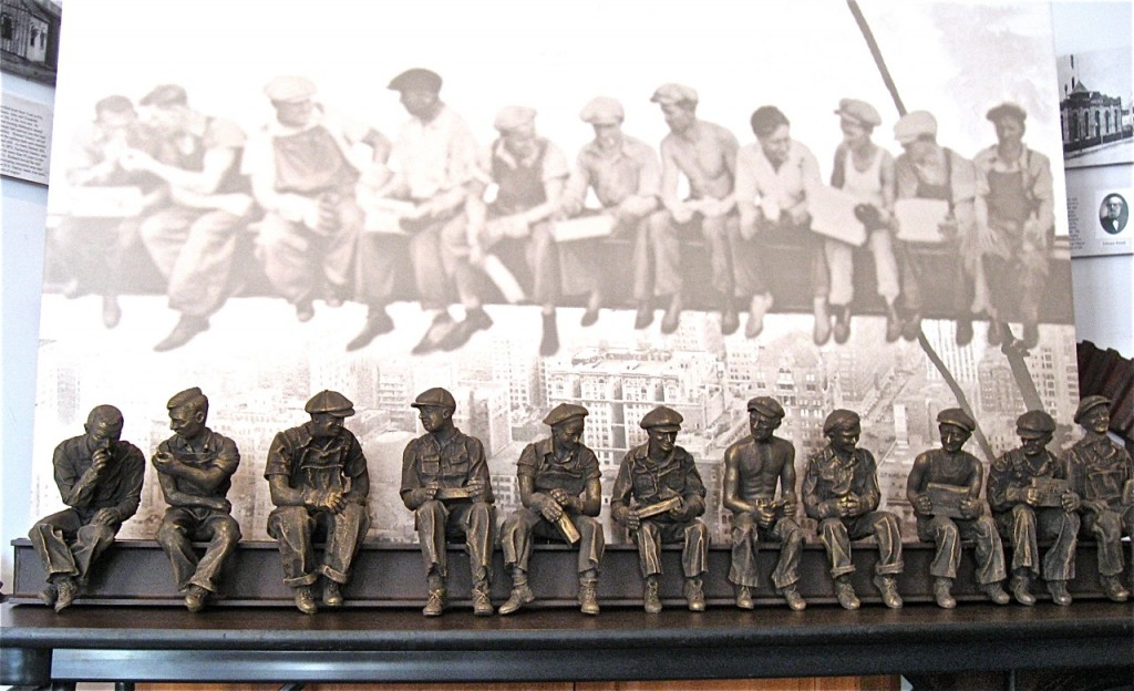 ON DISPLAY: The sculpture is displayed in the museum front of a large print of the famous photograph.