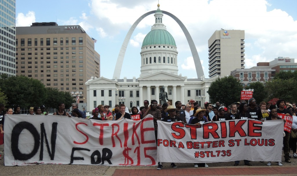 STANDING TOGETHER: Fast food workers throughout St. Louis have walked off their jobs and held numerous strikes, rallies and marches over the past year, demanding higher pay and the right to form a union without retaliation. Their actions are starting to show results.  – Labor Tribune file photo