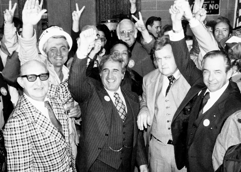 MANTIA CELEBRATING the victory over right-to-work in 1978. Pictured (front row, from left) are Teamsters Ed Dorsey (deceased), Mantia, St. Louis Labor Council President Bob Kelley and Missouri AFL-CIO President Jim Meyers (deceased). – Labor Tribune file photo
