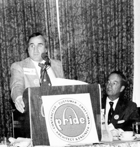 DICK MANTIA co-chairing PRIDE with contractor Al Fleischer (sitting, also deceased). – Labor Tribune file photo