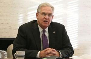 THE ANSWER IS NO: Missouri Gov. Jay Nixon vetoed 10 bills June 11 containing more than a dozen special interest breaks and exemptions passed by the General Assembly in the final hours of the legislative session. – St. Louis Post-Dispatch photo