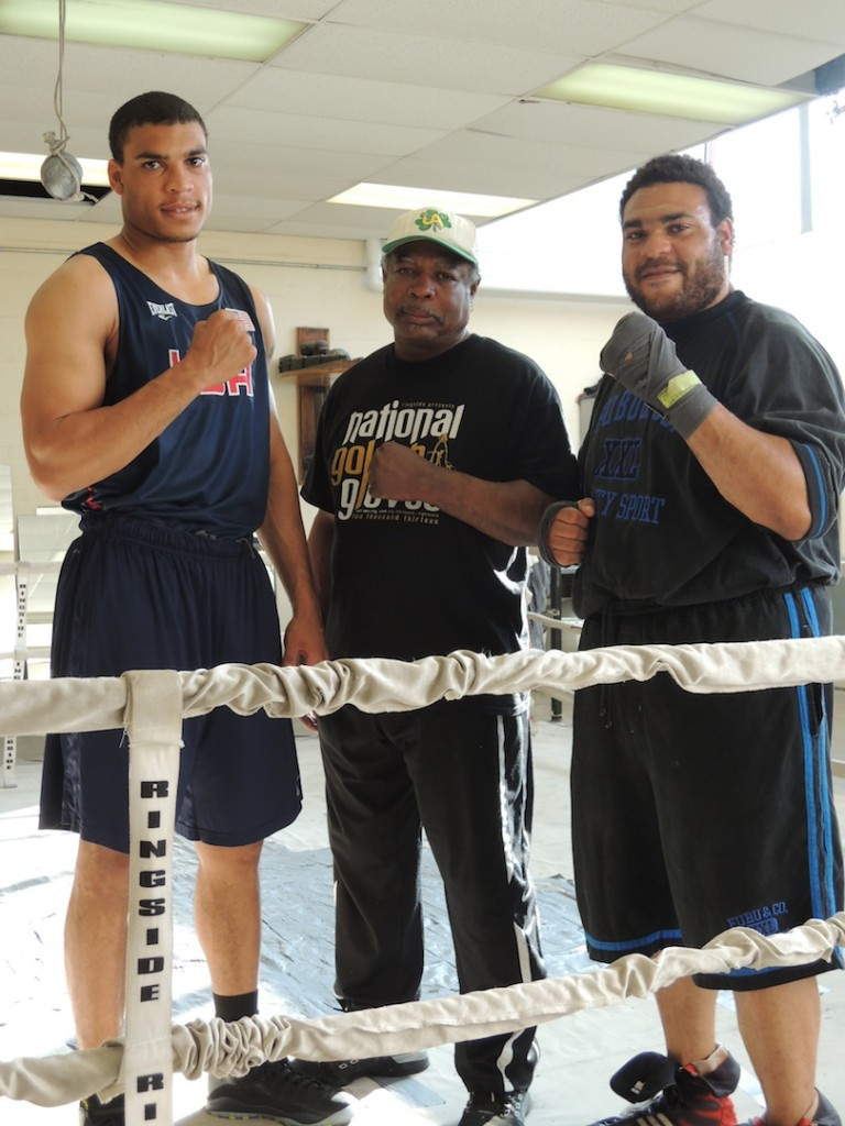 ST. LOUIS GOLDEN GLOVES Heavyweight Champion Joshua Temple (from left), his father and coach Willie Temple and brother, St. Louis Golden Gloves Super Heavyweight Champ Jabril Temple, are all members of Plumbers and Pipefitters Local 562. – Labor Tribune photo