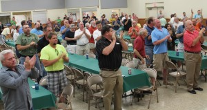 A STANDING OVATION greeted Stenger as he spoke to labor leaders and supporters May 28 at a fundraiser organized by the St. Louis Building and Construction Trades Council at IBEW Local 1 Hall.