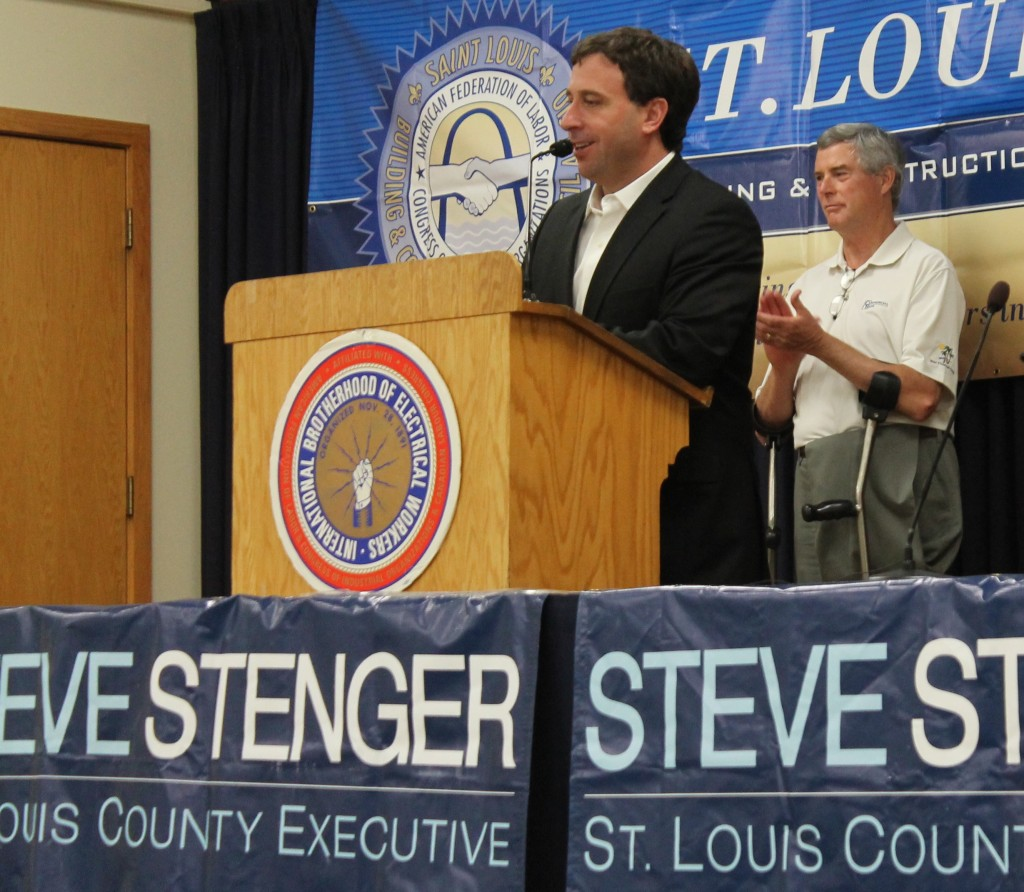 "ST. LOUIS COUNTY COUNCILMAN Steve Stenger speaking to supporters recently at IBEW Local 1 Hall. Behind Stenger is one of his strongest supporters, St. Louis County Prosecuting Attorney Bob McCulloch, who called Stenger a ""breath of fresh air"" for county government.  – John Moyle, IBEW Local 1 photos"