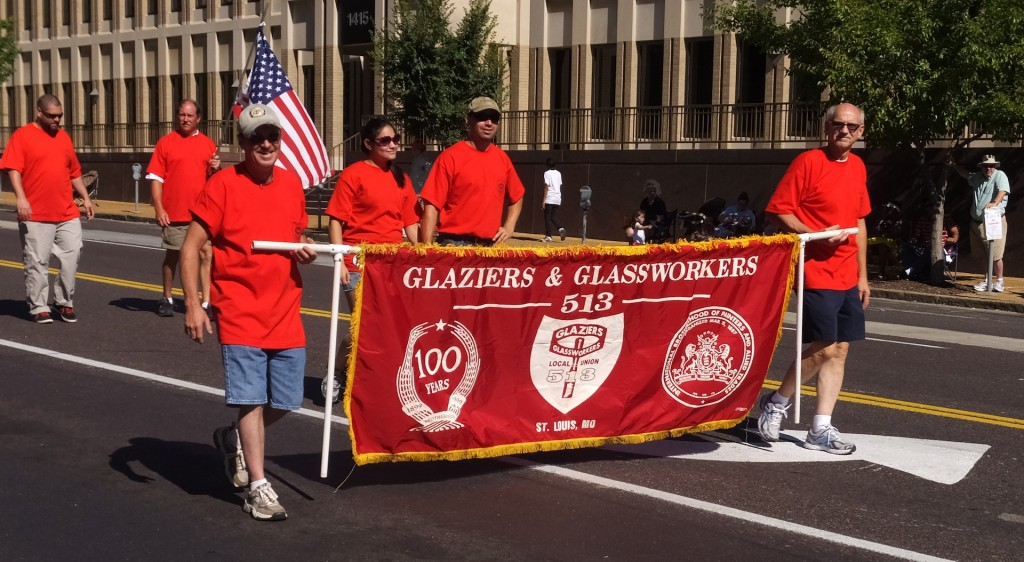TOP SPOT: Glaziers Local 513 will occupy the front spot in this year's St. Louis Labor Day Parade Sept. 1. The second spot(s) will include all IBEW locals, followed at No. 3 by UFCW Local 655. – Labor Tribune file photos