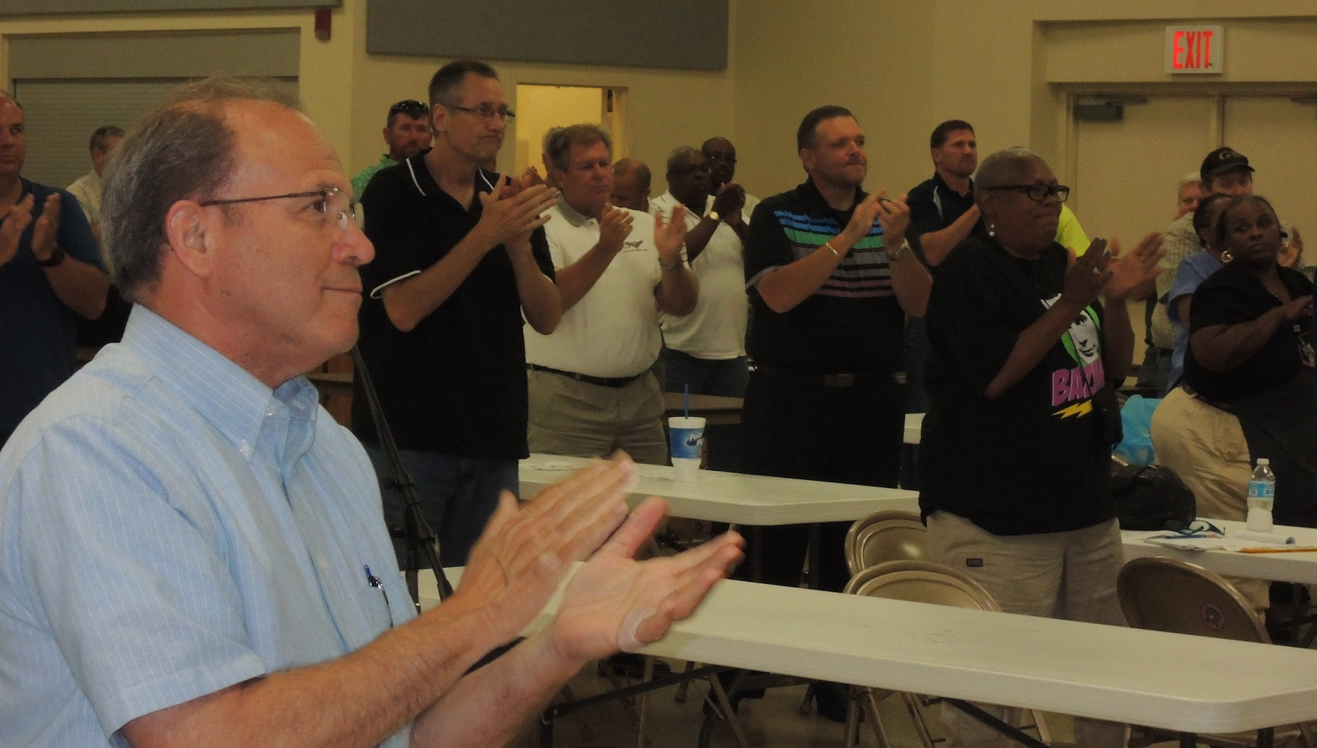 STANDING OVATION: Delegates to the Greater St. Louis Labor Council gave a standing ovation to President Bob Soutier who announced his retirement at the June 18 Council meeting. Nominations for the office of president will be held at 6:30 p.m. at the Tuesday, July 15 delegate meeting at IBEW, Local 1 Hall, 5850 Elizabeth Ave. If an election is needed, voting will take place at 6:30 p.m. at the Tuesday, Aug. 19, 2014 delegate meeting. – Labor Tribune photo