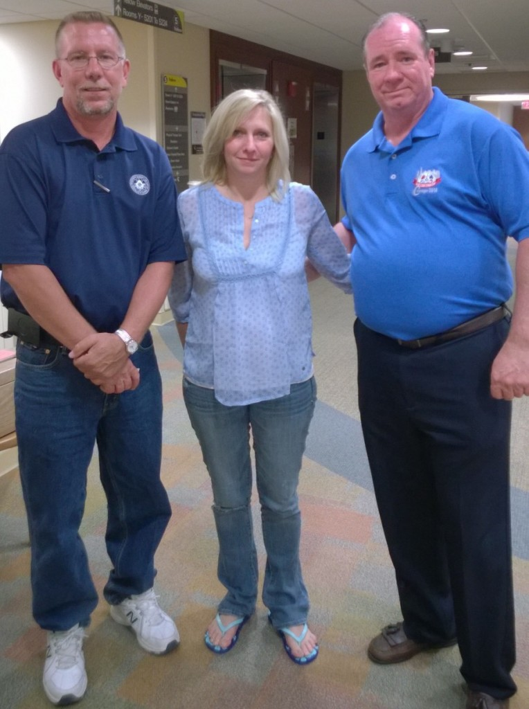 Machinists Local 660 Secretary-Treasurer B. Dean Webb, Heather Robinson and Business Representative Joe Eccardt.