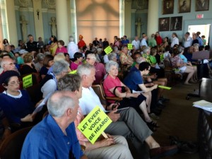 RECORD CROWD of more than 250 U. City residents protested the city council's efforts to gag the public input session before the normal order of business. Most were new faces that seldom, if ever, attend the meetings. Efforts by the five anti-fire fighter majority on the council hoped they could get by with this gag attempt but failed. – STL Today photo