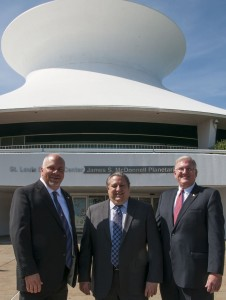 IBEW Local 1 Business Manager Frank Jacobs (from left), Executive Vice President of the St. Louis Chapter of NECA Doug Martin and Electrical Connection Executive Vice President Jim Curran pose outside the Planetarium in Forest Park. – Casey Communications photo