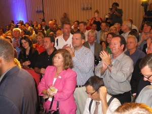 A HAPPY CROWD of several hundred people were on hand Aug. 5 to hear that Labor-backed challenger for St. Louis County executive Steve Stenger was victorious. Many union members and leaders turned out for the victory celebration after spending the day working at the polls.