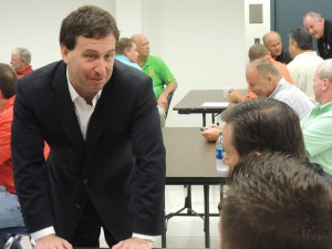THANKING LABOR FOR ITS SUPPORT, Steve Stenger (left), Democratic nominee for St. Louis County Executive, paid a surprise visiting to the St. Louis Building & Construction Trades Council's Aug. 6 delegates meeting. – Labor Tribune photo