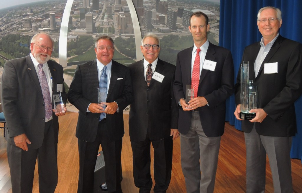 HONORING LEADERSHIP: PRIDE Labor-Management recognized four leaders in the St. Louis construction industry at its seventh annual awards luncheon last week. PRIDE Executive Director Jim LaMantia (center) congratulated (from left) SSM Health Care Executive Director of Facilities and Properties Don Wojtkowski (Joe Rinke Owner Award) St. Louis Building & Construction Trades Council Executive Secretary-Treasurer Jeff Aboussie (Al Fleisher Management Award) (to LaMantia's left) St. Louis Cardinals President Bill DeWitt (Dick Mantia Labor Award) and Express Scripts Vice President of Corporate Real Estate (PRIDE Industry Impact Award). – Labor Tribune photo