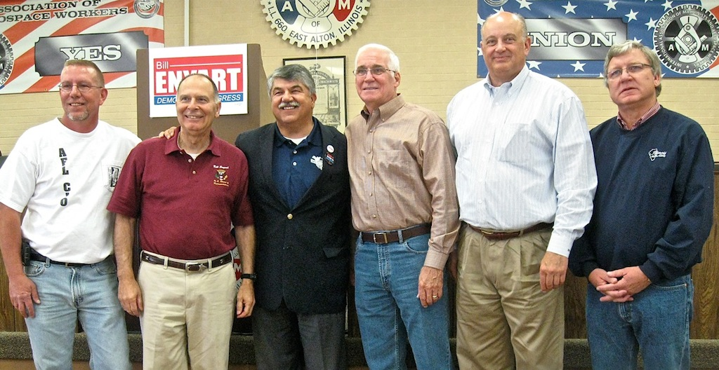 ON THE CAMPAIGN TRAIL: Campaigning for worker-friendly candidates at Machinists Lodge 660 (from left) Greater Madison County Federation of Labor President B. Dean Webb, U.S. Congressman Bill Enyart, AFL-CIO President Richard Trumka, Southwestern Illinois Building & Construction Trades Executive Secretary-Treasurer Dale Stewart, Illinois AFL-CIO President Michael Carrigan and Illinois AFL-CIO Secretary-Treasurer Tim Drea urged union leaders to lead by example in canvassing and working phone banks, and urged all union members to get out and vote. – Labor Tribune photo