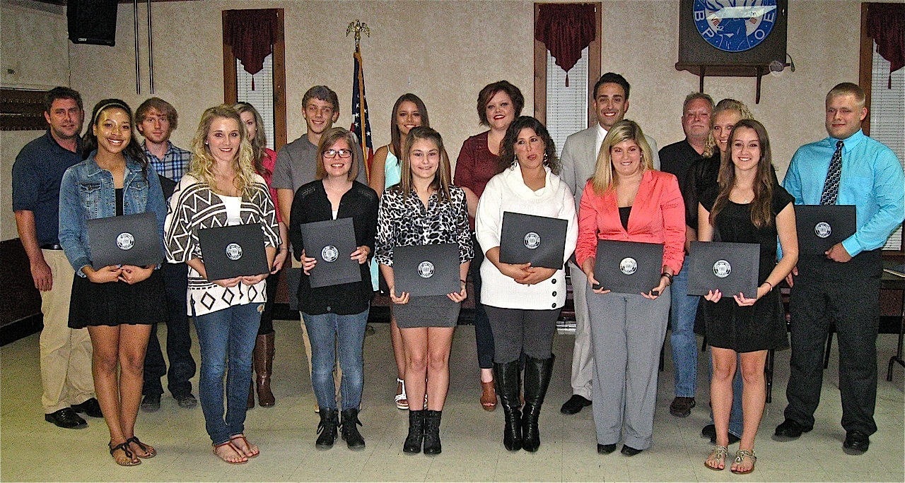 STANDOUT STUDENTS: The Southwestern Illinois Laborers District Council recently awarded 19 scholarships to members, or sons or daughters of members who are full-time students and receive good grades. The presentation ceremony at Elks Lodge 664 included (front row, from left) recipients Timadj Wellmaker, Christina Leder, Jenna Teetor, Danielle Scott, Stacey Baehler, Kaitlyn Hemmer and Kayla Mattson. Also present were (back row, from left) Laborers-Employers Cooperation and Education Trust Director and Scholarships Coordinator Dustin Ramage, Clinton Trentman, Ashley Hosto, Justin Freivogel, Heather Mench, Caitlin Fox, Jacob Brunning, Business Manager Glyn Ramage, Ashley Leder and Dustin Scheller. Not pictured, but receiving scholarships were Jonathan Sterling, Edmund Brunning, Ka'lynn Price and Miriam Reed. – Southwestern Illinois Laborers District Council photo