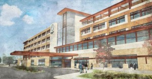 IN WITH THE NEW: An artist's rendering of the proposed new 144-bed hospital, which would be built on 114 acres north of Interstate 64 and west of Green Mount Road in O'Fallon.
