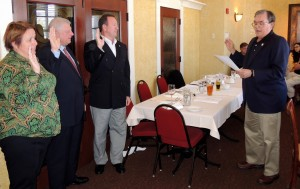 OFFICERS CHRISTENED: AFL-CIO Maritime Trades Department Executive Secretary-Treasurer Dan Duncan ( right) swore-in the Port Council's  new officers (from left) Vice President John Stiffler (veteran business manager, Insulators Local 1), President Jack Martorelli (former business manager, Operating Engineers Local 513) and Port Agent Becky Sleeper (to Duncan's right) at Bartolino's on Hampton Ave. – Labor Tribune photo