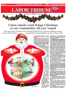 "1ST PLACE - BEST CARTOON: – ""The Santa Union charity work brings Christmas to our communities all year 'round"" drawn by Labor Tribune freelance cartoonist/artist Sean O'Conner, member Sprinkler Fitters Local 268, to illustrate a special section in the paper demonstrating union charity work for over 440 charities throughout the year."