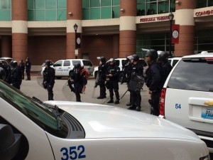 ON ALERT, members of the St. Louis Police Officers Association at the Edwards Jones Dome at halftime to ensure fans' safety after Ferguson protesters showed up at halftime during the Nov. 30 game.  – Labor Tribune photo