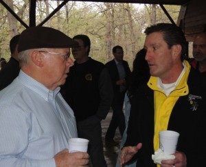 FUN AND THANKS: Rep. Bob Burns (D-Affton) (left) visits with Plumbers and Pipefitters Local 562 Business Manager John O'Mara at last year's Barbecue in the Park. – Labor Tribune photo