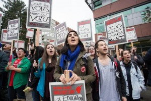 TEACHING A LESSON: Adjunct faculty at Seattle University joined adjunct instructors across the nation Feb. 25 on the first-ever National Adjunct Walkout Day. – Inside Higher Ed photo