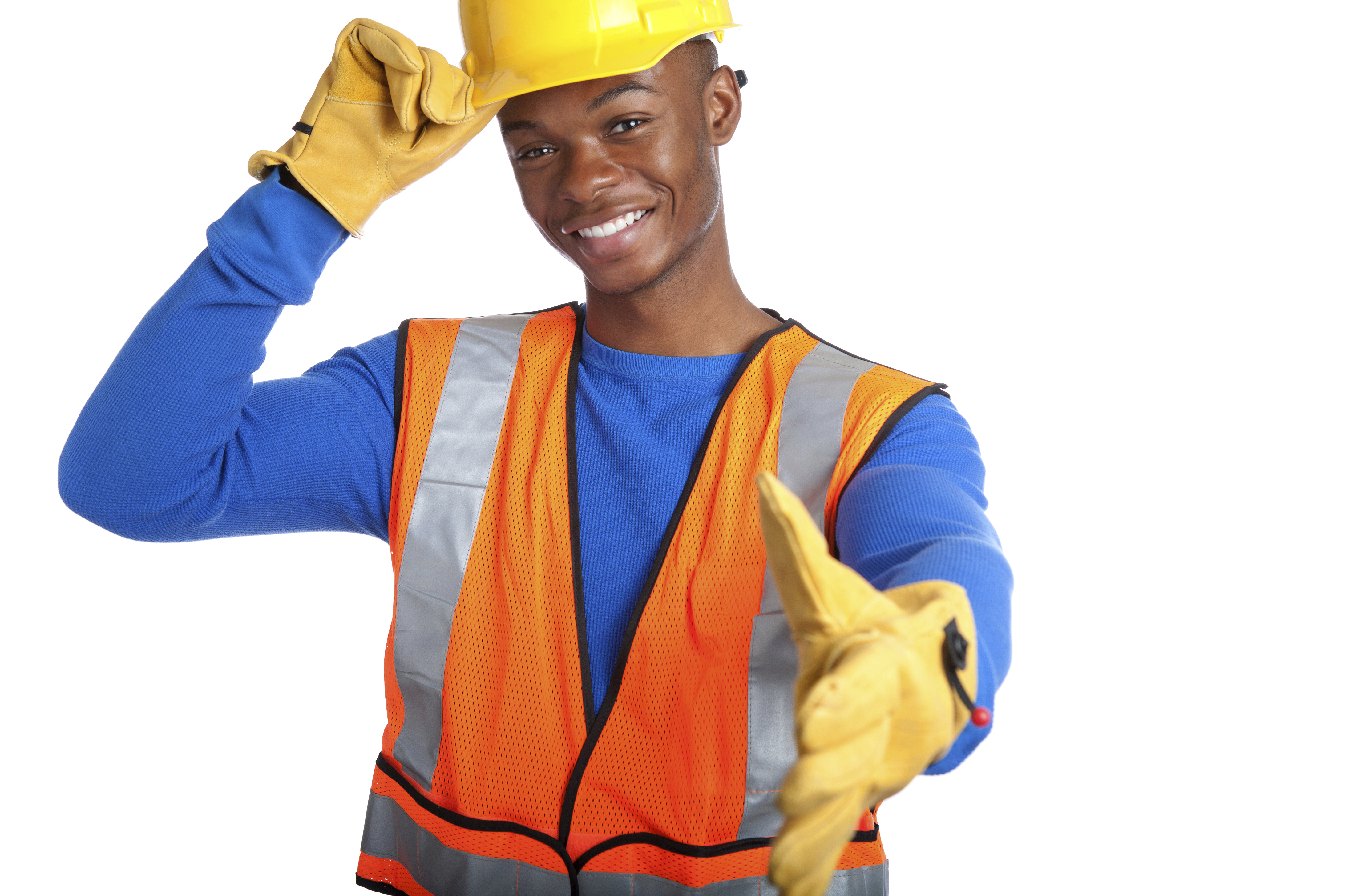 African-American male construction worker shaking hand