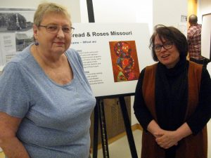 ROSEMARY FEURER (right) visits at the History Museum with Joan Suarez, a long-time St. Louis union activist in the garment industry. – Labor Tribune photo