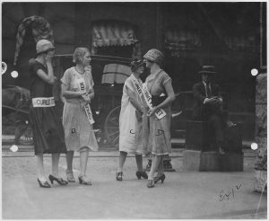 ST. LOUIS WOMEN, wearing their finest, picket at Curlee Clothing in the 1920s.