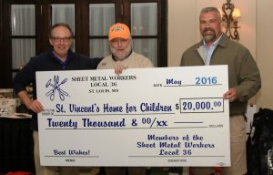 GENEROUS DONATION: David C. Zimmermann (center), president/business manager of SMART Sheet Metal Workers Local 36, proudly presents a check for $20,000 to St. Vincent Home for Children Director of Development Mike Garavalia (left) with Ray Reasons, Golf Tournament chairman and business representative for Local 36. – Kristopher Harmon photo