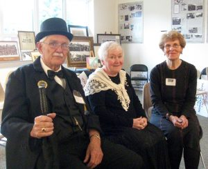 "JIM ALDERSON, a member of the Mother Jones Museum Board, dressed as ""General"" Alexander Bradley, a miners organizer, while Brigid Gerace, (center) portrayed Mother Jones at the May Day event, which was organized by board member Joann Condellone (right)."