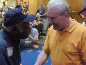 RETIREE Desoto Wilkes (left), a 61-year member, talks with Laborers General President Terry O'Sullivan. – Labor Tribune photo