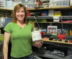 CRAYON CREATIVITY: Stacey Bonuso, an IBEW Local 1 member, has saved more than a ton of crayons from the landfill since starting her crayon recycling side business in 2009. – Labor Tribune photo