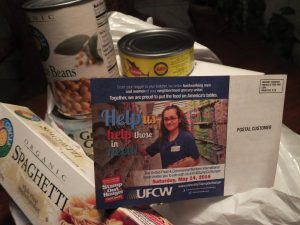 A POSTCARD MAILING to every home in America reminding residents of the annual Stamp Out Hunger Food Drive of the National Association of Letter Carriers was sponsored by the United Food & Commercial Workers Union (UFCW). – Labor Tribune photo