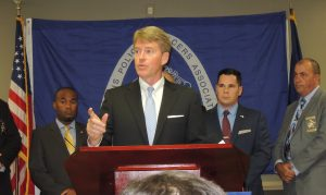 ENDORSED BY POLICE: Missouri Attorney General Chris Koster discussed his goals as governor for supporting law enforcement and making communities safer after accepting the endorsement of the Missouri Fraternal Order of Police in the race for Missouri governor.