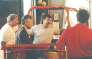TALKING WITH MEMBERS in their shops was a constant for Bobby Sansone who never forgot his responsibilities to his membership as he moved up the Teamsters leadership ladder.