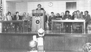 QUALITY POLITICAL LEADERSHIP was important to Bobby Sansone (at podium) because of the impact political decisions ultimately had on his members. In 1980 he introduced then Alderman Vince Schoemehl (seated at left) as the best candidate for St. Louis mayor to a gathering of St. Louis union leaders. In 1981 Schoemehl was elected the youngest mayor in St. Louis' history, serving until 1993. – Labor Tribune file photo
