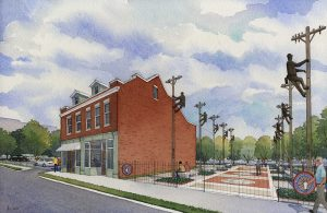 WHERE IT ALL BEGAN: Here is an artist's rendering of the Henry Miller Museum and Founders' Park. – IBEW Local 1 image