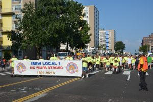 THOUSANDS OF UNION MEMBERS turned out for the St. Louis Labor Day Parade in downtown St. Louis Sept. 5. IBEW Local 1, celebrating the 125th anniversary of its founding right here in St. Louis, led the parade. - Labor Tribune photo