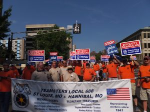 SCHNUCK BOYCOTT SIGNS proliferated in last week's Labor Day parade as members of various unions marched in solidarity with Teamsters Local 688. - Labor Tribune photo