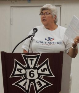REGISTER AND VOTE! State Sen. Gina Walsh (D-Bellefontaine Neighbors) spoke to members of IATSE Local 6 (Stagehands), IATSE Local 143 (Projectionists) and Decorators & Displaymen USW Local 39 at the Local 6 union hall recently about the importance of this year's elections. - Labor Tribune photo