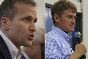 "THE CHOICE IS SIMPLE in the race for Missouri governor: Republican Eric Greitens (left) supports so-called ""right-to-work;"" Democrat Chris Koster (right) does not."
