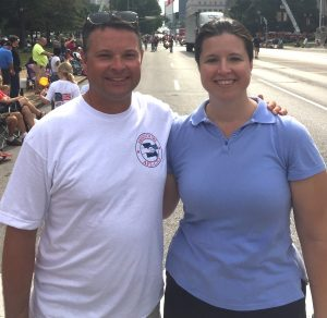 STANDING WITH WORKERS at this year's Labor Day Parade, 94th District candidate Vicki Englund with Missouri AFL-CIO Secretary-Treasurer Jake Hummel, himself a candidate for the Missouri Senate (4th District) to succeed Sen. Joe Keaveny who resigned to take a judgeship.