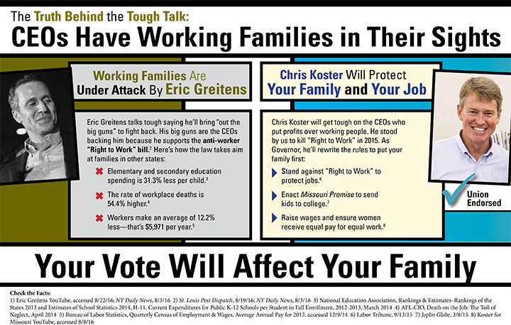 ONE OF THE MAILERS sent out by the Missouri AFL-CIO in recent weeks taking aim at Republican gubernatorial candidate Eric Greitens for targeting working families.ONE OF THE MAILERS sent out by the Missouri AFL-CIO last week taking aim at Republican gubernatorial candidate Eric Greitens for targeting working families.