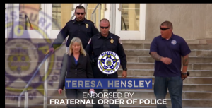 LAW ENFORCEMENT SUPPORTS HENSLEY: The Missouri Fraternal Order of Police has endorsed Democrat Teresa Hensley for attorney general in the Nov. 8 election. She also has the Missouri AFL-CIO COPE endorsement. – Screen capture Hensley video