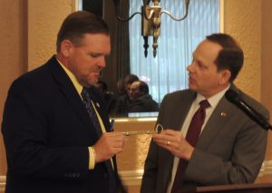 """ST. LOUIS MAYOR Francis Slay (right) speaking at last week's St. Louis Labor Council Union Representatives luncheon, presented White and the Labor Council with a key to the city """"for all the work that you and your organization are doing and have done for a long time for the City of St. Louis."""" – Labor Tribune photo"""