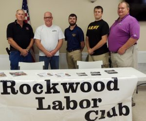 REACHING OUT TO VETERANS: Rockwood Labor Club members participating in the Veterans Open House were (from left) Scott McKnight (Plumbers and Pipefitters Local 562), Wally Wuelling (Elevator Constructors Local 3), U.S. Navy veteran Clay Lunsford (Local 3), U.S. Army veteran Shawn Milligan (Local 562) and Labor Club President Marty McClimens (Local 562). – Labor Tribune photo