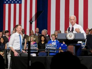 "A CHANGE FOR MISSOURI: Vice President Joe Biden (left) took the stage with U.S. Senate candidate Jason Kander at the Pageant in University City Friday, praising the Missouri secretary of state as part of a new ""greatest generation"" committed to service and ""the kind of person we need in politics in both parties."" Kander is running to unseat incumbent Senator Roy Blunt. – Gary Otten photo"