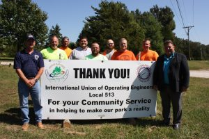 OPERATING ENGINEERS LOCAL 513 volunteered time and equipment to excavate O'Day Park in O'Fallon saving the city thousands of dollars. In photo (from left): Apprentice Instructor Rick Hickerson, Apprentice Chris Correnti, Apprentice Instructor Brian Graff, Apprentice Scott Bowman, Apprentice Jesse Gale, Apprentice Cameron Wallace, Apprentice Evan Pollard, Apprentice Tim Sappington and O'Fallon City Councilman Bob Howell, also a member of Plumbers and Pipefitters Local 562 and a candidate for O'Fallon mayor. – Labor Tribune photo